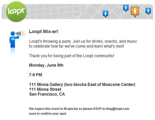 Loopt Mix-er Invitation
